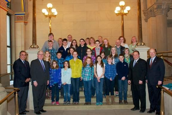 Assemblyman Joe Giglio, Senator Tom O'Mara, Assemblyman Phil Palmesano, and Assemblyman Bill Nojay with parents and members of leader Rebecca Painter's Canisteo 4-H Stars.