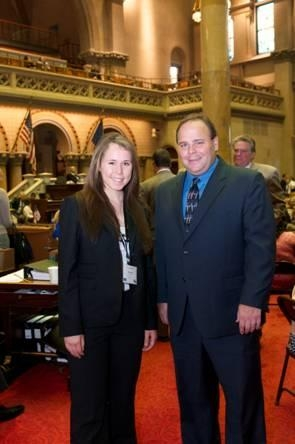 Seneca Anastasio from the League of Women Voters with Assemblyman Phil Palmesano on her recent visit to the Capitol.