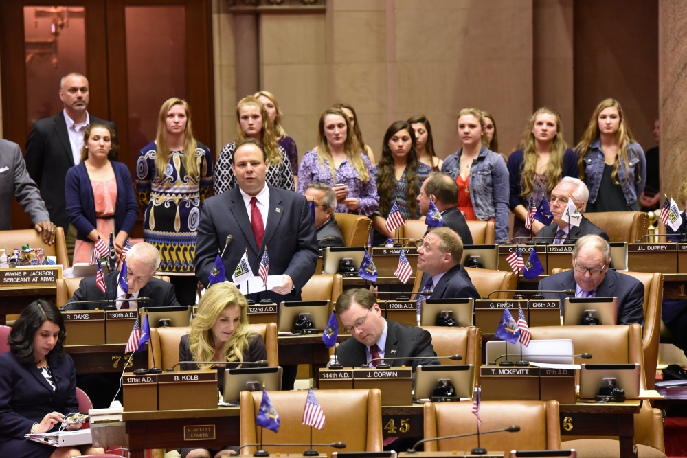 Assemblyman Palmesano introducing the state champion South Seneca girls basketball team to his colleagues on the Assembly Floor.