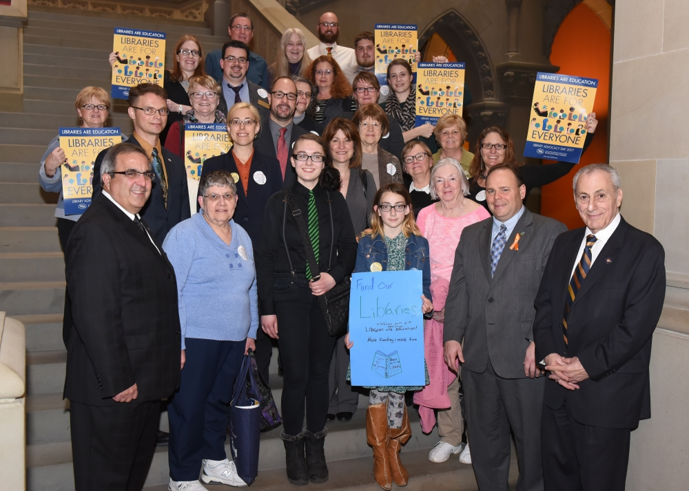 Assemblymen Giglio, Friend, Palmesano and Errigo with representatives from the Southern Tier Library System.