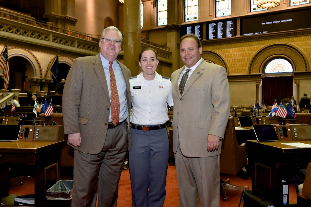 Photo from the floor of the New York State Assembly Chamber, Senator O'Mara and Assemblyman Palmesano welcome West Point Cadet Lili Ruland of Corning to the Capitol, and thank her for her commitm