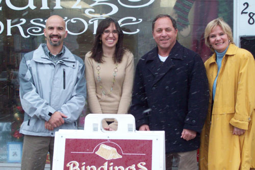 Assemblyman Steve Hawley (R,I,C-Batavia) (second from right) visits Bindings Bookstore with Kevin Lake, Executive Director of Orleans Chamber of Commerce, and business owners Carolyn Ricker and Maarit Vaga as part of his Home for the Holidays.