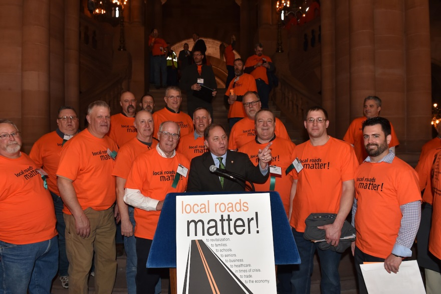 Hawley stands with Western New York highway superintendents at a rally in Albany on Wednesday, March 04, 2020.