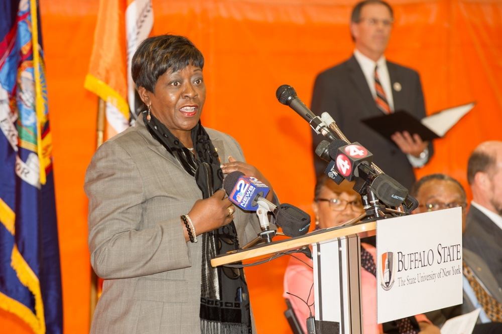 October 17th 2014 � Assemblywoman Crystal Peoples-Stokes attended the ribbon cutting at the renovated Houston Gymnasium at Buffalo State College.