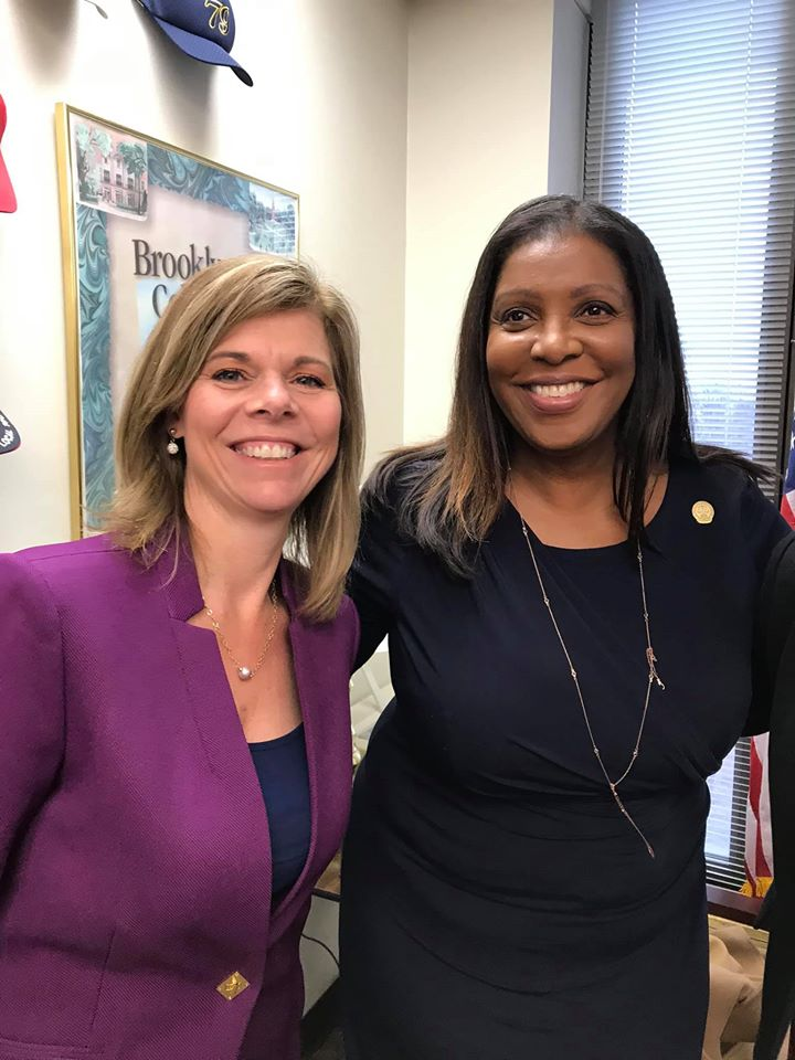 Assemblymember Monica Wallace with Attorney General Tish James on Feb. 27 for the Women's Legislative Caucus to discuss issues facing women in New York State.