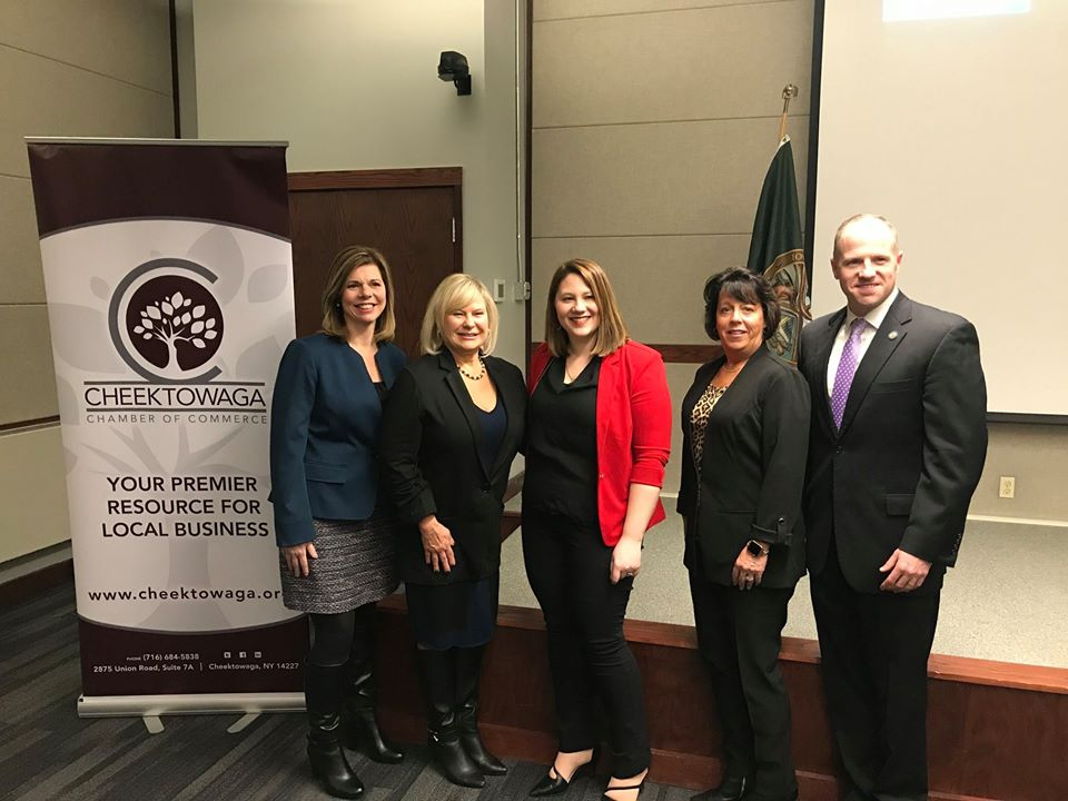 Assemblymember Monica Wallace at the 2020 State of the Town of Cheektowaga on Feb. 7, 2020 alongside town Supervisor Diane Benczkowski, (second to left), Cheektowaga Chamber of Commerce President &