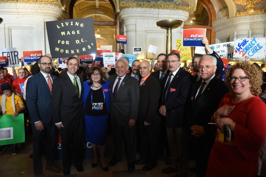 Assemblyman Angelo J. Morinello (R,C,I,Ref-Niagara Falls) joins Assembly colleagues at a direct-care rally in Albany.