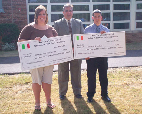 Assemblyman Giglio with the two Italian-American State Legislators Conference Scholarship Winners - Emily Grochowina of Salamanca and Jeremiah Mulson of Ripley.