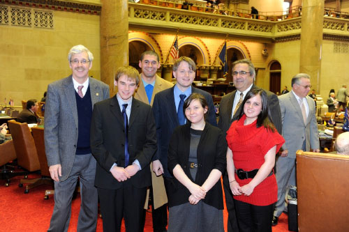 Assemblyman Goodell meets with SUNY students in Albany as they urge the adoption of a rational tuition plan.